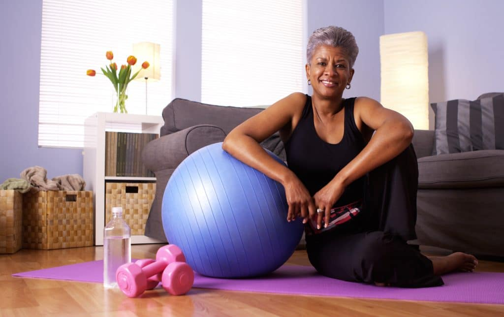 older woman home workout