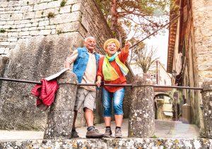 older couple travel fun