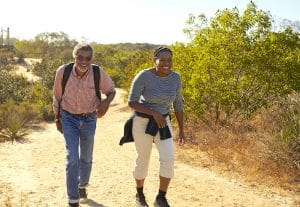 mature couple hiking outdoors
