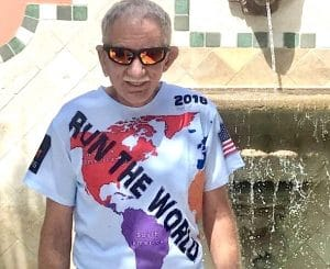 older man in running shirt